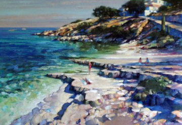 Corfu Beach 1988 44x58 (Greece) Original Painting - Howard Behrens
