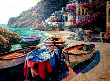 Capri Boats 2001 Embellished Limited Edition Print - Howard Behrens