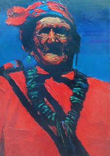Geronimo 1970 24x18 Original Painting - Howard Behrens