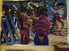 Two Girls At the Beach 1982 36x50 Original Painting by Howard Behrens - 1