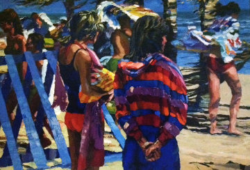 Two Girls At the Beach 1982 36x50 Super Huge Original Painting - Howard Behrens