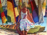 Rainbow Sails  1984 52x44 Original Painting - Howard Behrens