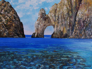 Los Arcos - Cabo San Lucas 2006 33x43 Original Painting - Howard Behrens