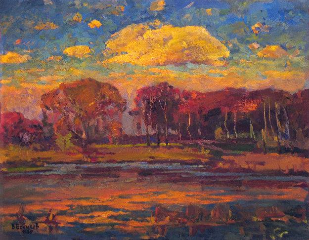 Pink Cloud 1980 25x32 Original Painting by Vasily Belikov