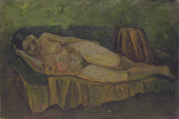 Naked Woman on Sofa 1978 21x31 Original Painting by Vasily Belikov