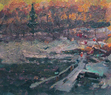 Stream in the Winter Forest 1982 10x12 Original Painting by Vasily Belikov