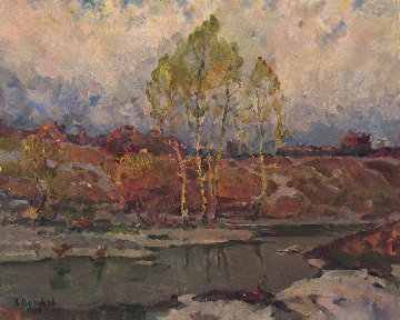 Early Spring 1982 25x31 Original Painting - Vasily Belikov