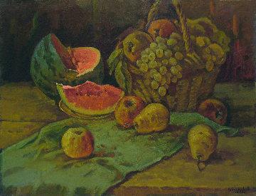 Still Life With Watermelon 1989 29x37 Original Painting - Vasily Belikov