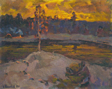 Bonfire in the Distance 1990 20x25 Original Painting - Vasily Belikov