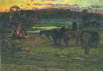 At the Dawn 1981 25x36 Original Painting - Vasily Belikov