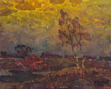 Warm Evening 1982 15x19 Original Painting - Vasily Belikov