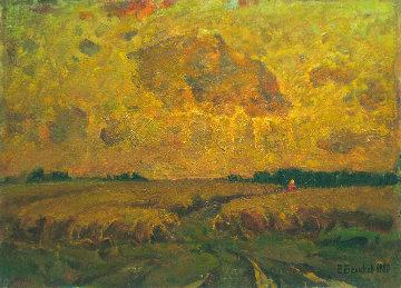 Path in the Field 1980 13x19 Original Painting - Vasily Belikov