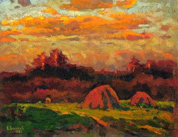 Pink Haystacks 1984 18x24 Original Painting - Vasily Belikov