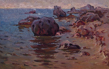 Sea Cost 1967 8x13 Original Painting - Vasily Belikov