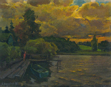 Evening on the River 1983 16x20 Original Painting - Vasily Belikov