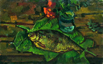 Still Life With Fish on the Leaves 1981 20x32 Original Painting - Vasily Belikov
