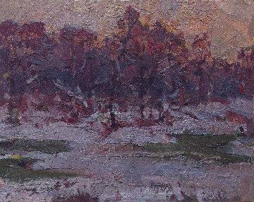Winter Forest 1982 14x17 Original Painting - Vasily Belikov
