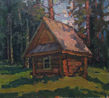Forest Hut 1977 13x15 Original Painting - Vasily Belikov