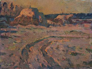 Winter Road in the Village 1985 17x23 Original Painting - Vasily Belikov