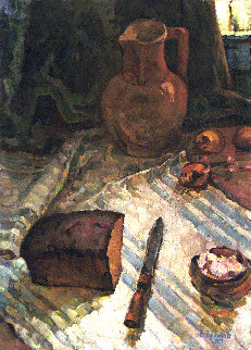 Still Life With Bread and Salt 1977 26x19 Original Painting - Vasily Belikov