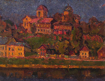Town on the River 1971 13x15 Original Painting - Vasily Belikov