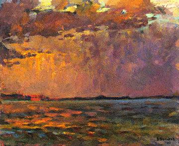 Sun Rays Over Water 1980 16x20 Original Painting - Vasily Belikov