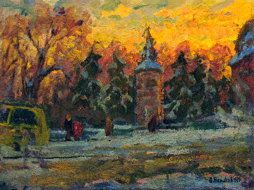 Winter Day in the City 1979 16x21 Original Painting by Vasily Belikov