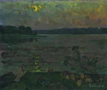 Moonlight Night 1983 20x24 Original Painting by Vasily Belikov