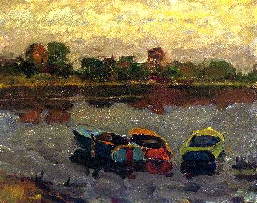 Three Boats 1981 13x16 Original Painting - Vasily Belikov