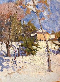 Winter Day 1979 12x9 Original Painting - Vasily Belikov