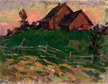 Outskirts of Village 1973 10x13 Original Painting by Vasily Belikov
