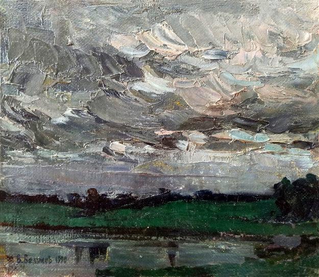 On the Lake 1990 9x10 Original Painting by Vasily Belikov
