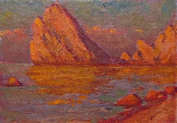Rock in the Sea 1971 9x13 Original Painting - Vasily Belikov