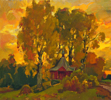 A Chapel 1987 23x25 Original Painting - Vasily Belikov