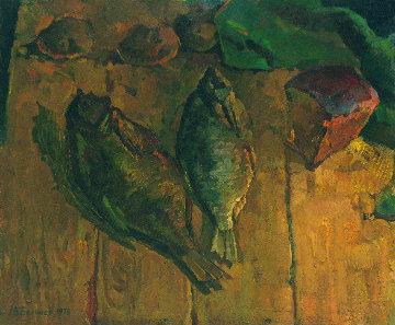 Still Life With Fish 1978 17x21 Original Painting - Vasily Belikov
