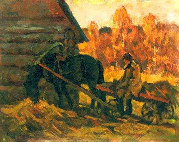 Autumn in the Village 1992 16x20 Original Painting - Vasily Belikov