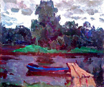 Boat on the River 1982 13x16 Original Painting - Vasily Belikov