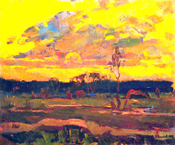 Summer Evening 1980 24x28 Original Painting - Vasily Belikov