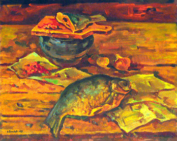 Kitchen Still Life 1979 30x37 Original Painting - Vasily Belikov