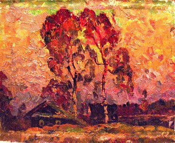Birches 1985 16x19 Original Painting - Vasily Belikov