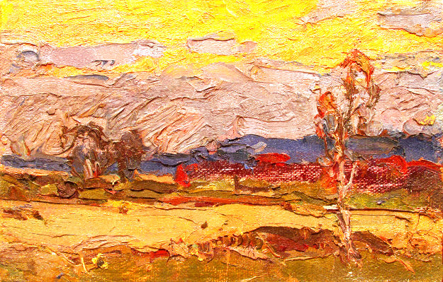 Warm Summer Evening 1979 6x10 Original Painting by Vasily Belikov