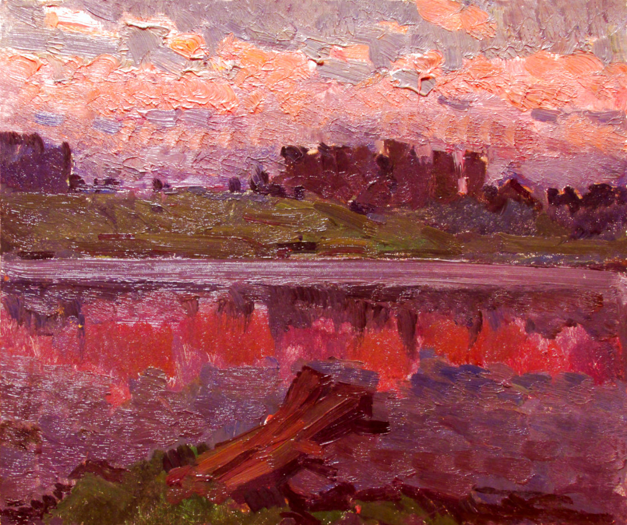 On the River 1982 13x15 Original Painting by Vasily Belikov