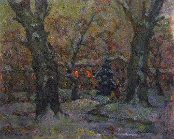 In the Evening 1985 17x21 Original Painting - Vasily Belikov