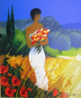 Promenade Provencal Serigraph in Color Hand  Embellished on Canvas Limited Edition Print by Emile Bellet