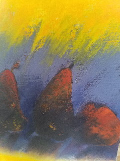 Les Poires 43x15 Original Painting - Emile Bellet
