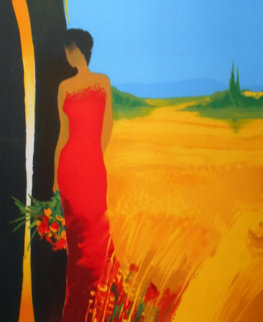 Untitled (Lady in Red Dress) 2000 Embellished Limited Edition Print by Emile Bellet