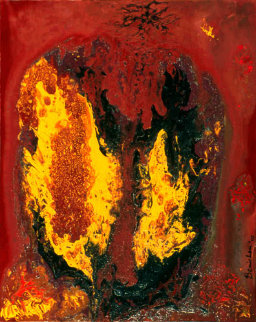 By Invitation Only 2002 29x23 Fire Original Painting - Philippe Benichou