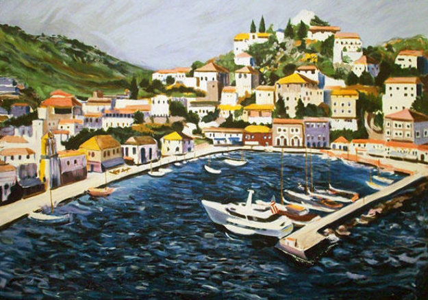 Greek Port with Remarque 1987 Limited Edition Print by Tony Bennett