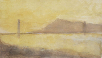 Foggy Morning in San Francisco  Watercolor 1999 19x22 Watercolor by Tony Bennett