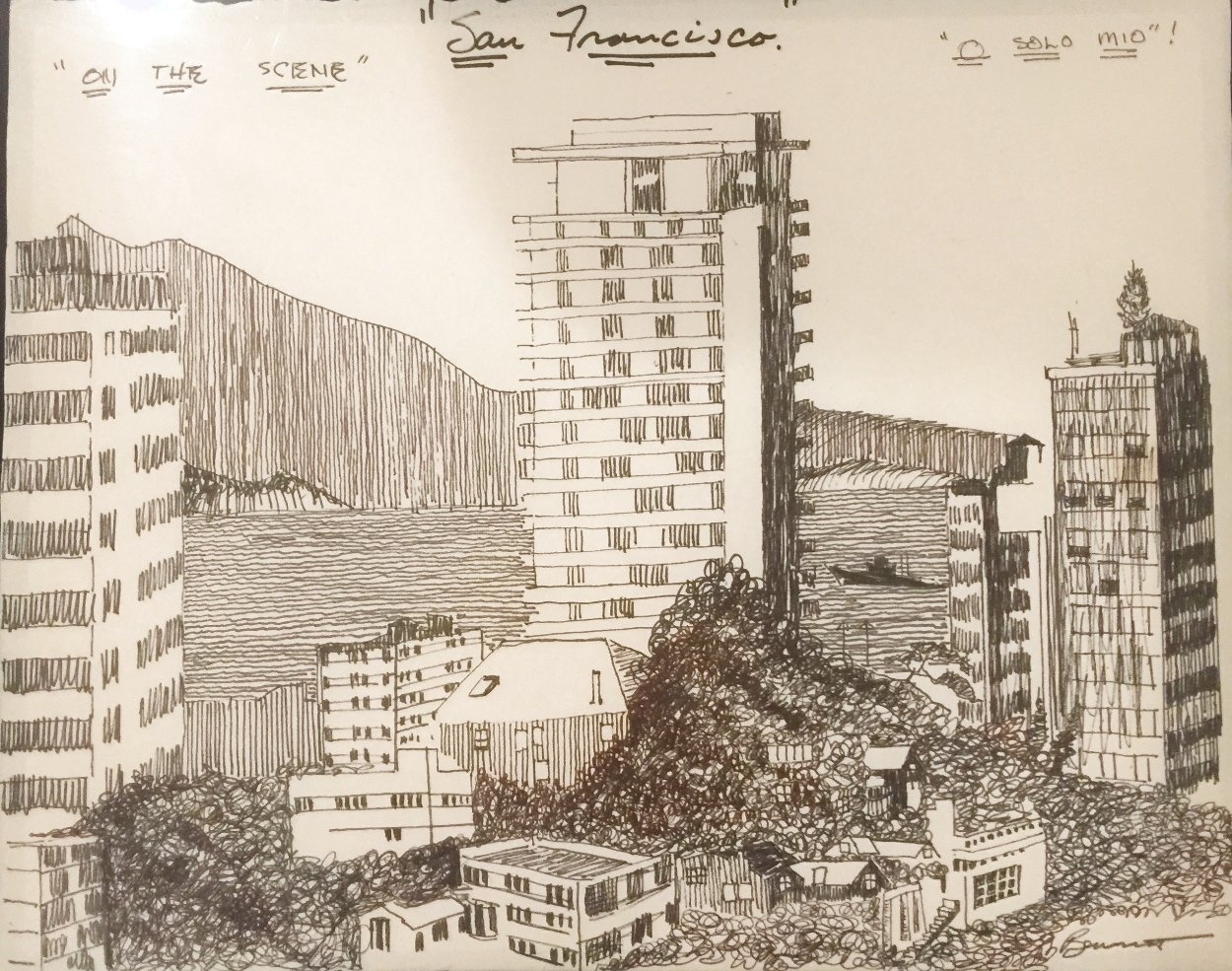 O Solo Mio on the Scene - Powell St. San Francisco Drawing 18x24 Works on Paper (not prints) by Tony Bennett